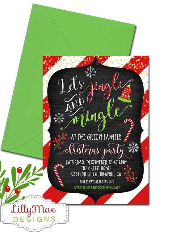 Christmas Party Invitation Holiday Party Invitation Jingle