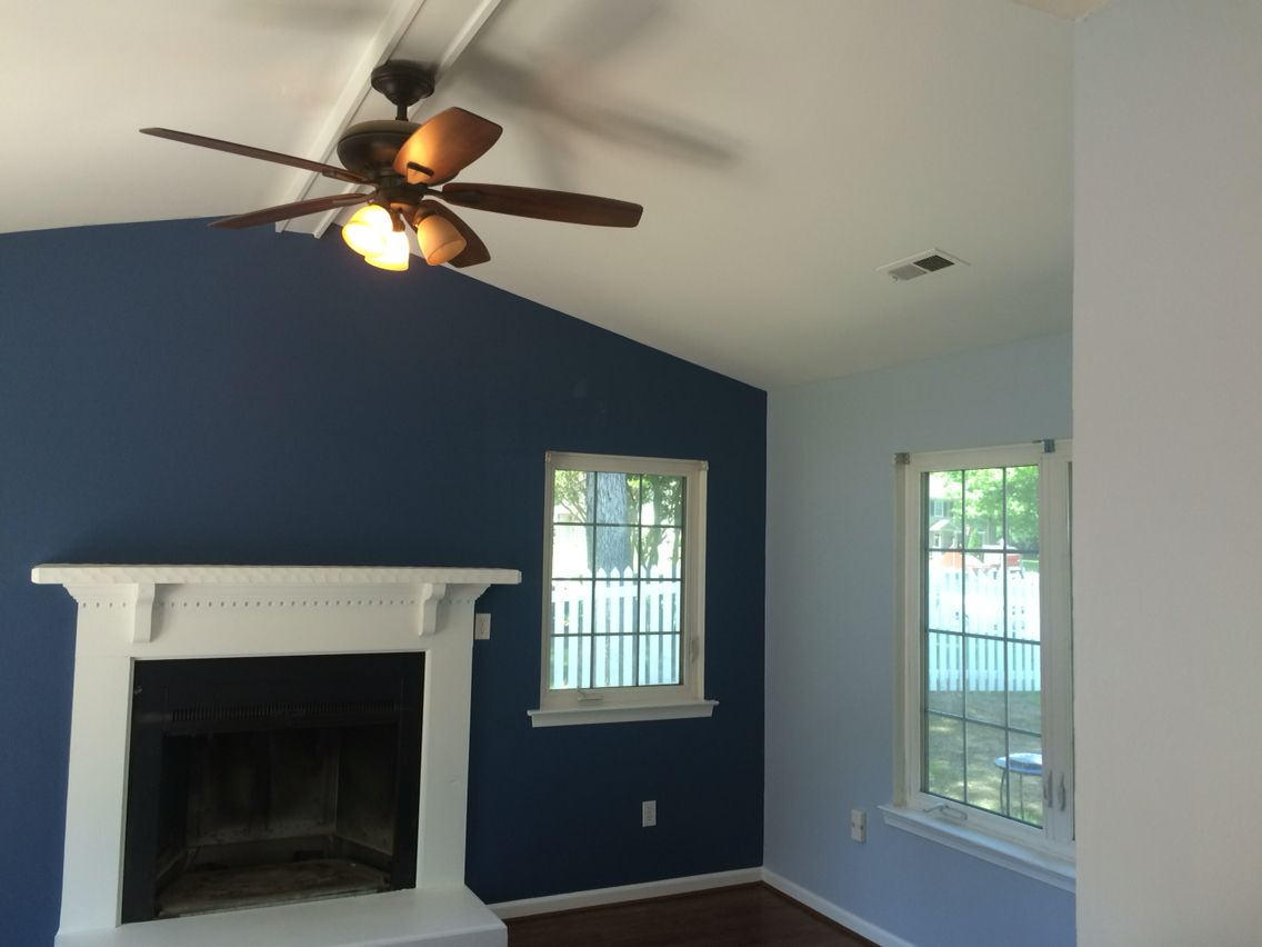28 sherwin williams accent wall with for Blue jean paint color