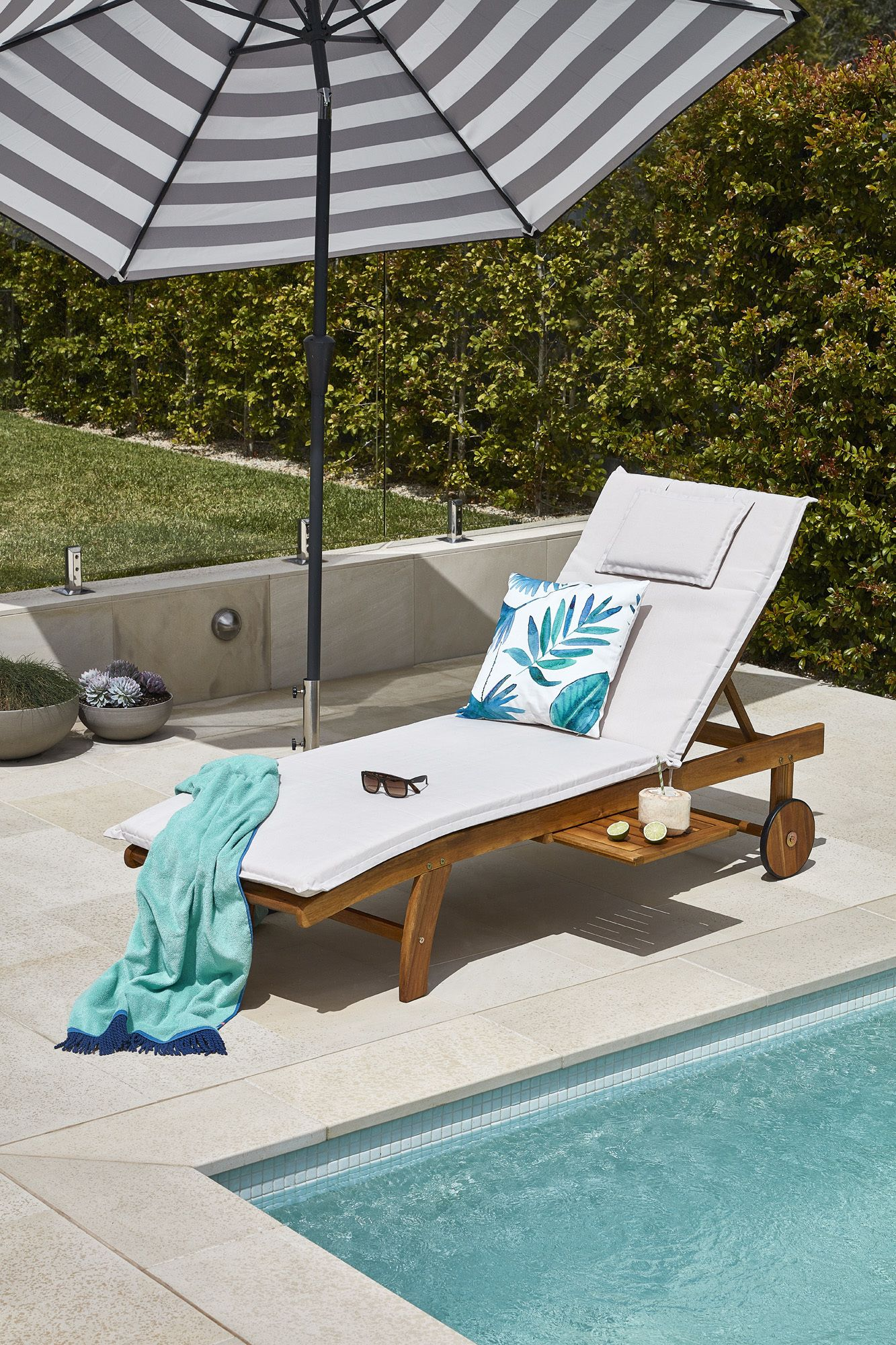 Monaco Wheeled Outdoor Hardwood Sun Lounger Temple