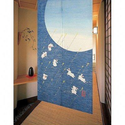 Japanese Noren Curtain New Rabbit Usagi Moon 151 A100273830