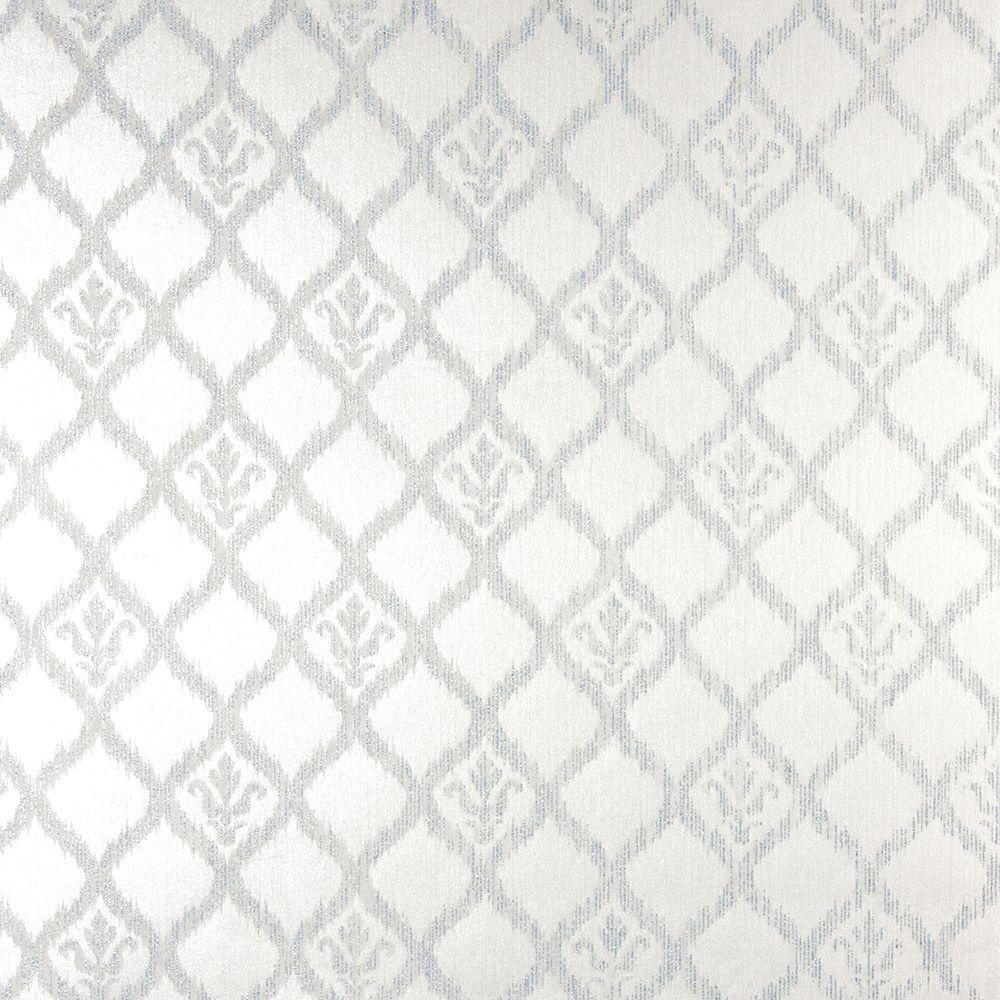 James Jakarta Silver Ikat Motif Wallpaper 2542
