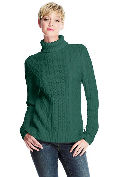 Women's Lofty Blend Aran Cable Turtleneck Sweater from Lands' End ...
