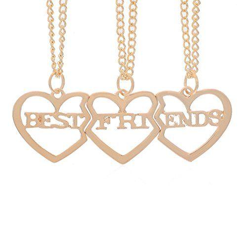 Mjartoria Best Friends Letter Filigree Trio Heart Puzzle Pendant