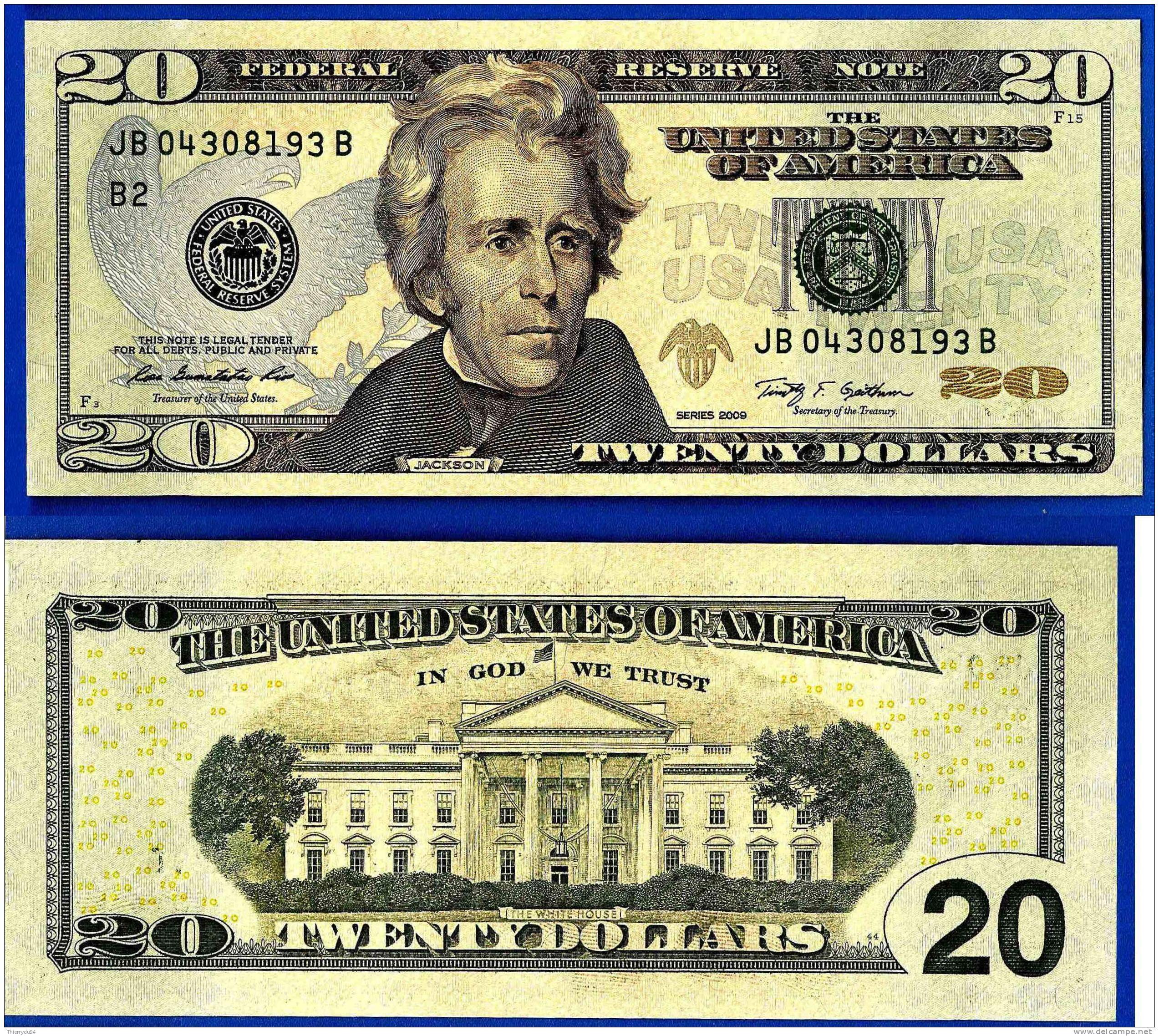 Usa Etats Unis 20 Dollars Neuf Unc Mint New York B2