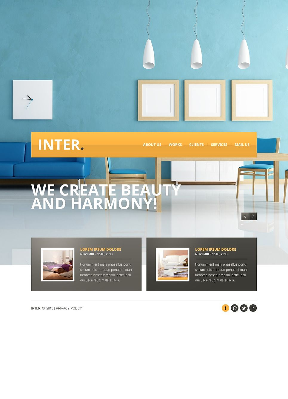 Interior Design Facebook Html Cms Template 43676 With Images