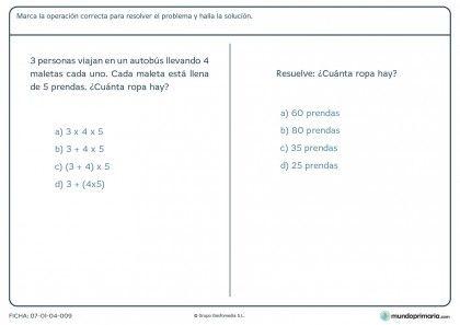 Ficha de un problema con más de una pregunta y operación para Primaria