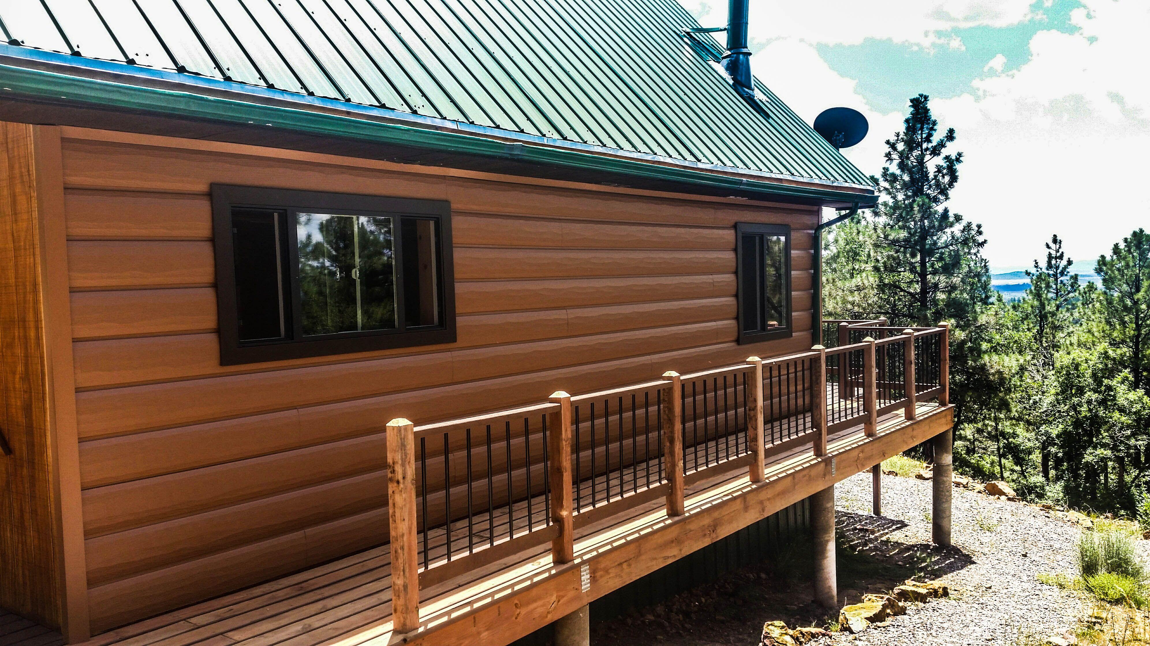 3x8 log siding hand hewn pine - Green Metal Roof With Cedar Log Siding