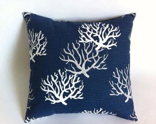 Euro Sham Navy Grey Nautical Coral Branches Pillow Cover Fits On 26x26 Pillow Throw Pillows Navy Throw Pillows Coral Throw Pillows