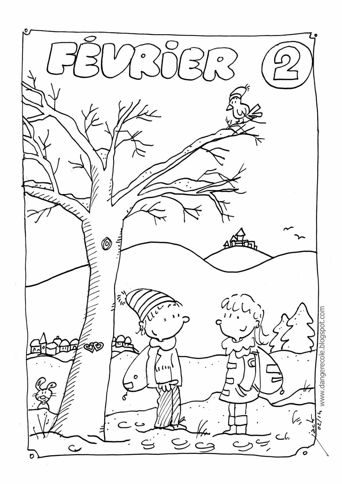 Coloriage Fevrier Maternelle.Coloriage Fevrier Tampons Et Coloriages Danger Ecole