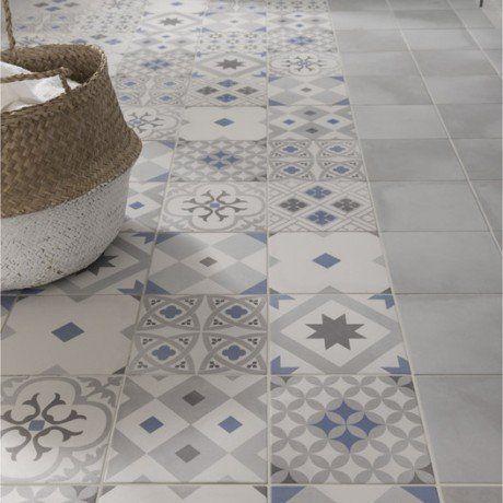 Carrelage sol et mur gris  bleu effet ciment Gatsby l20 x L20 cm - salle de bain en bleu