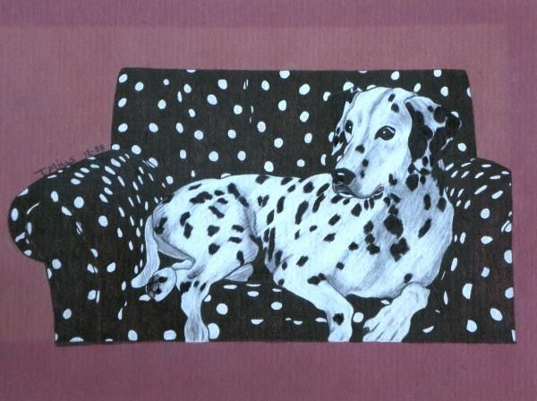 dalmatians dogs and thanksgiving | Terri Mills - Dalmatian on a Spotted Couch