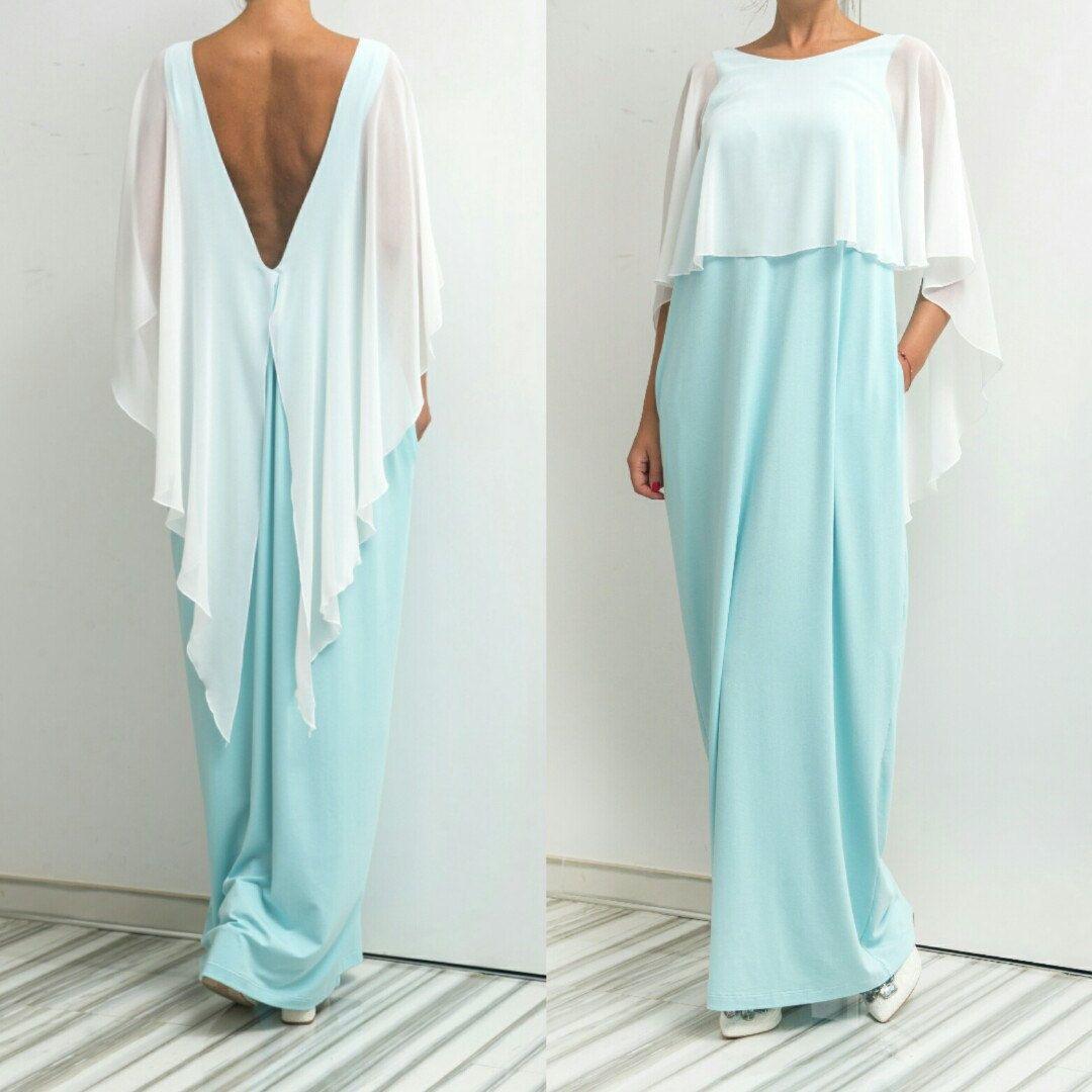 El vestido backless de la menta vestido maxi caftán vestido del