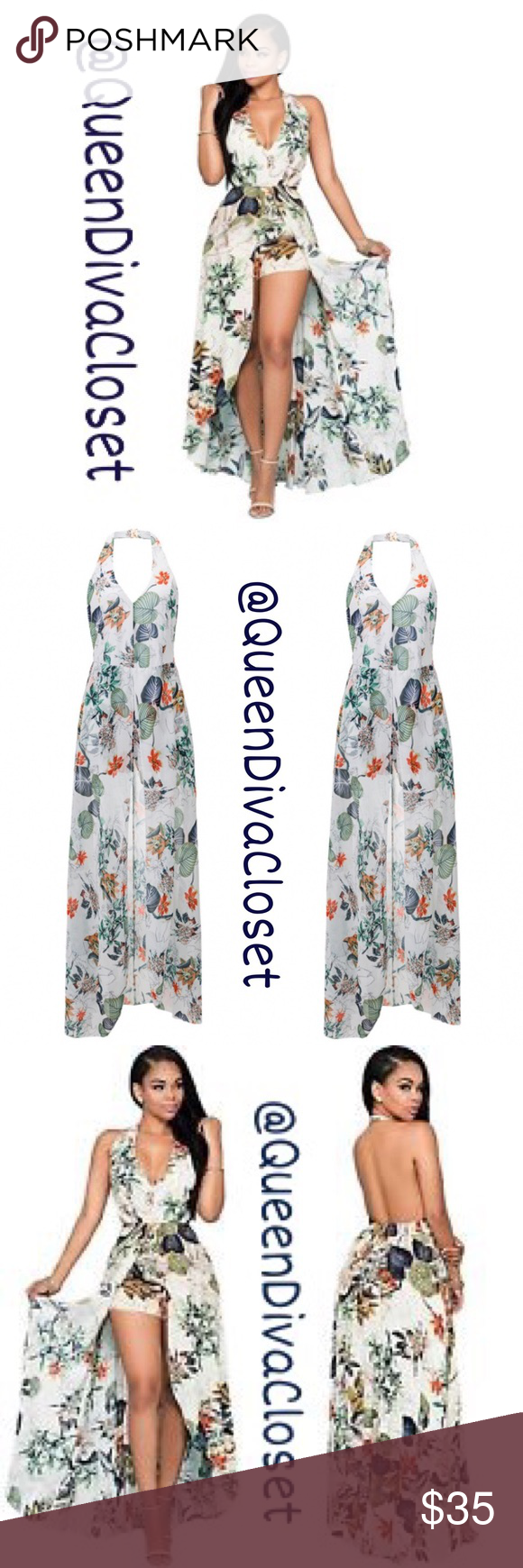 ee9246348c Floral halter short romper maxi hi lo dress L XL Be the center of attention  in this eye catching maxi jumpsuit dress. Features a halter neck with clip  ...