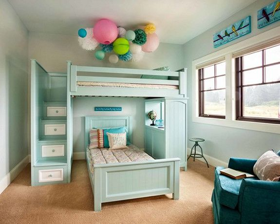 bunk bed color schemes | Teal color scheme for these beds with stairs  instead of ladder