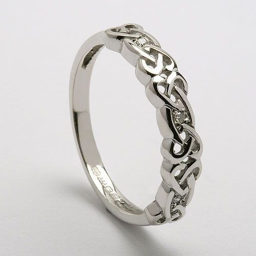 Celtic diamond wedding band in Platinum or white gold by https://www ...