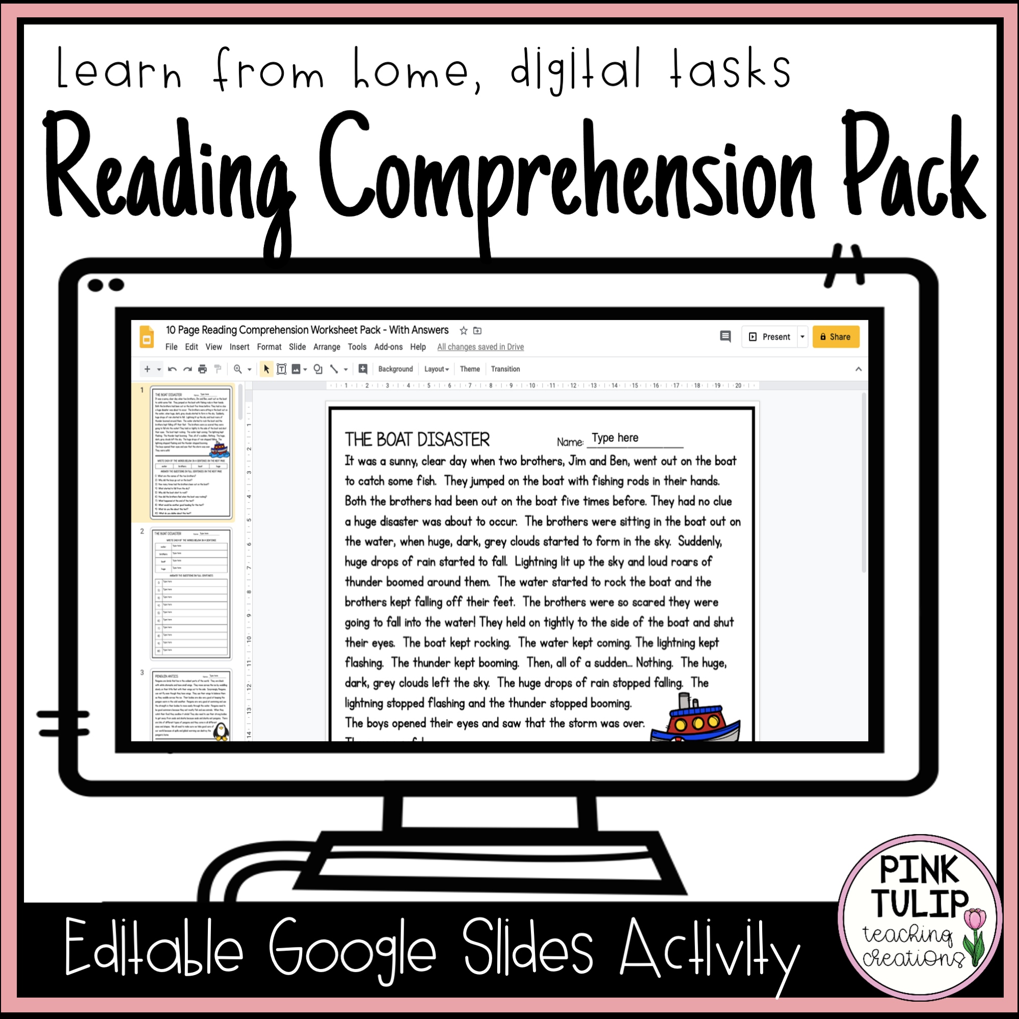 10 Page Reading Comprehension Worksheet Pack