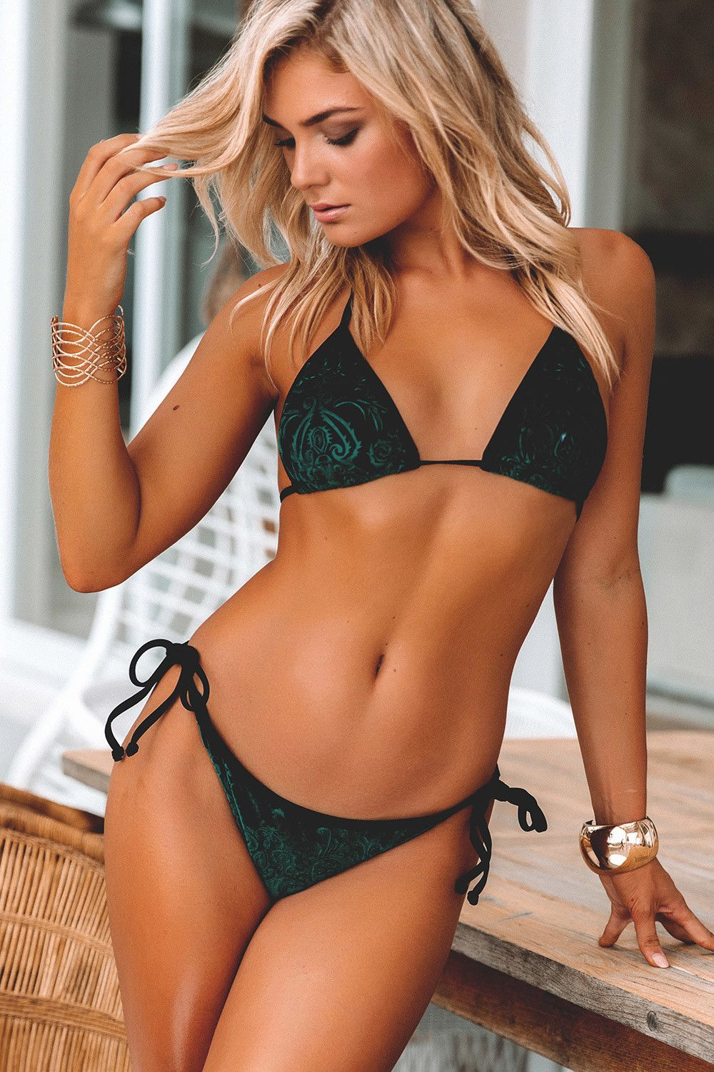 Emerald Embossed Velvet Adjustable Triangle Bikini Top   Single Rise Scrunch  Bikini Bottoms with Solid Black Binding Trim aa4706a5c19ac