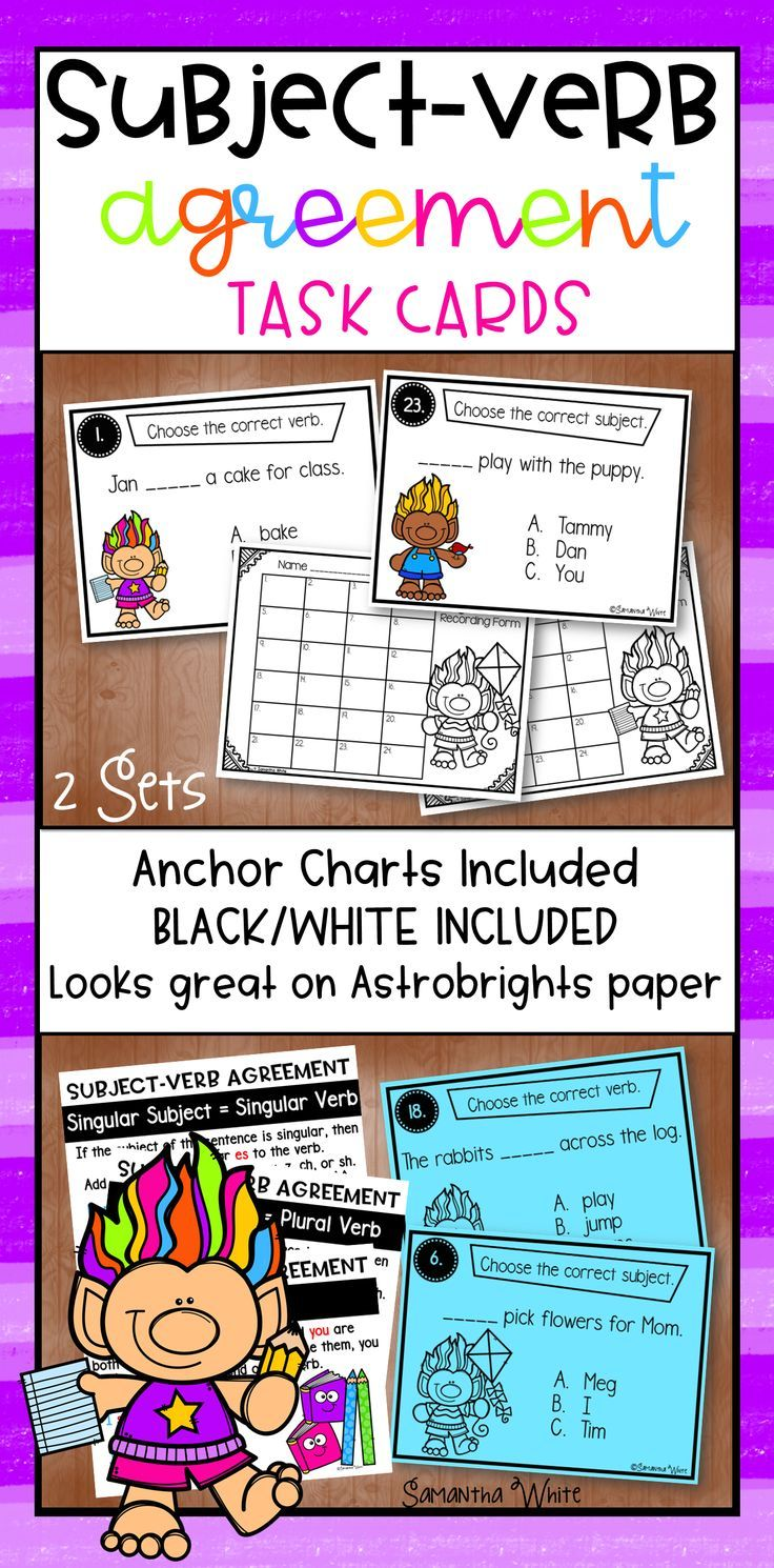 Workbooks subject verb agreement worksheets 9th grade : Subject-Verb Agreement Task Cards | Subject verb agreement, Word ...