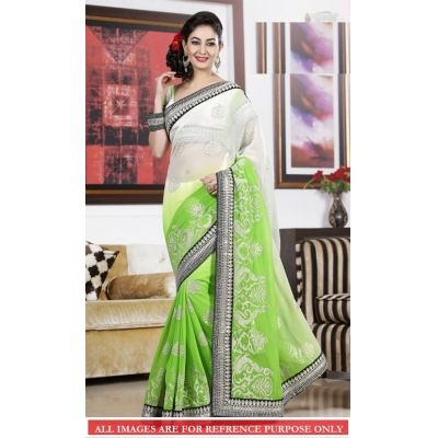 Trynget's New Green Color Fancy Designer Saree just coming soon on shoppyonline.com