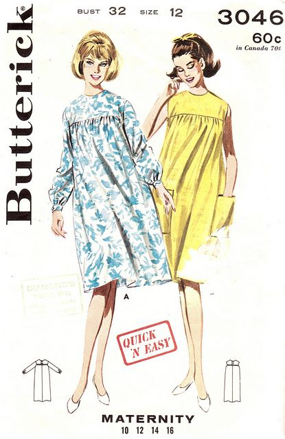 a6764e38aa6 Vintage 1960s Quick and Easy Maternity Dress Size 12 Butterick 3046 ...