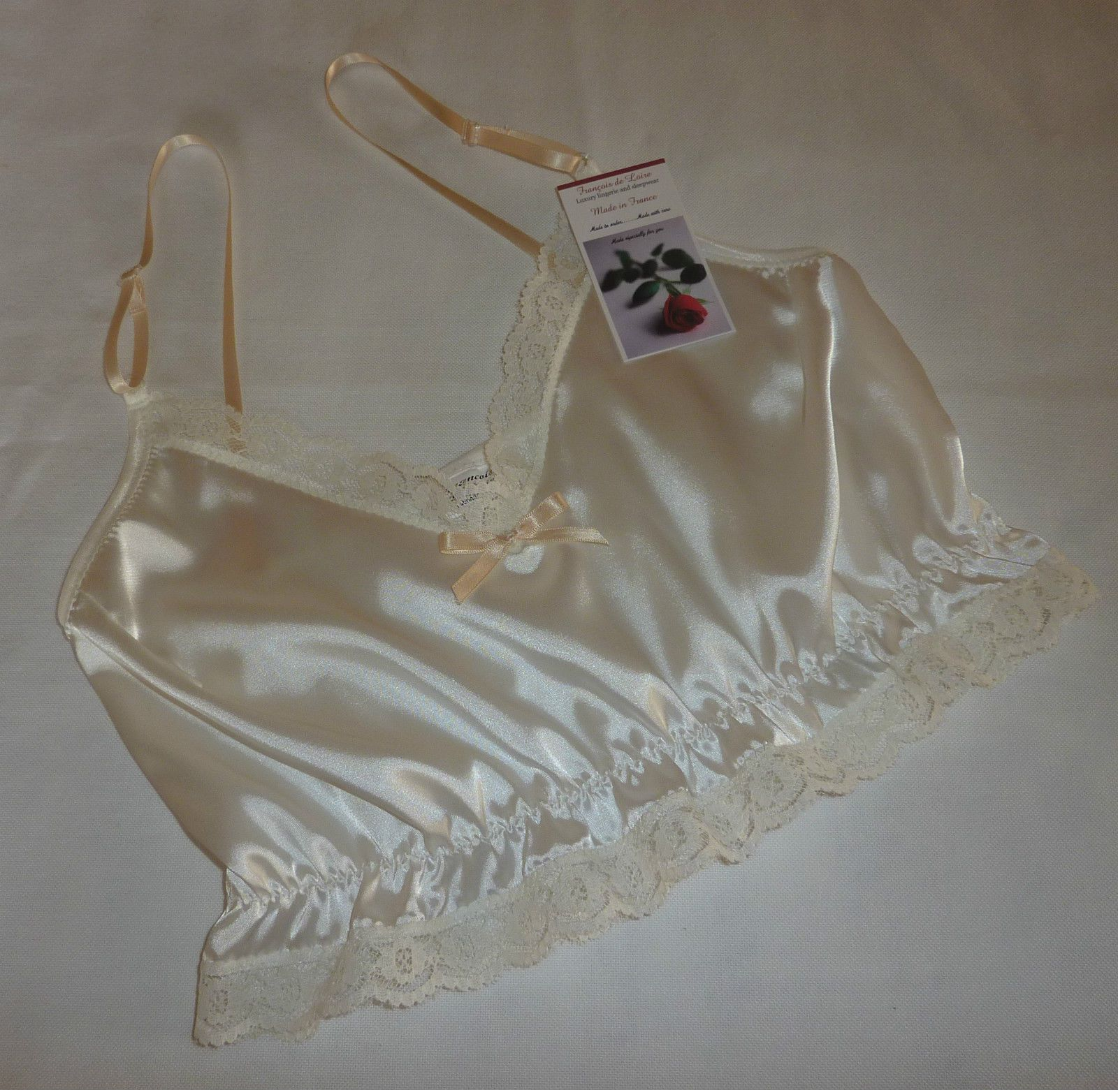 SHINY PINK SATIN /& BLACK LACE SHORT CAMISOLE CROP CAMI TOP   MADE IN  FRANCE