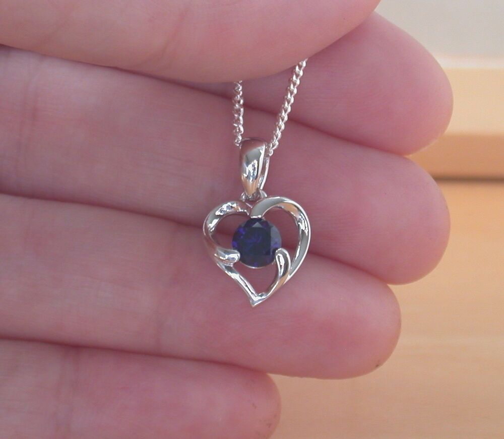 925 Sapphire Lab Created Pendant Chain Sterling Silver Sapphire Necklace Uk Silver Sapphire Necklace Sapphire Heart Necklace Sapphire Jewelry