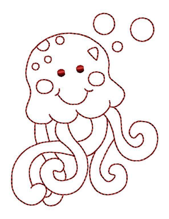 Octopus Redwork Hand Embroidery - FREE | Bordado Patrones ...