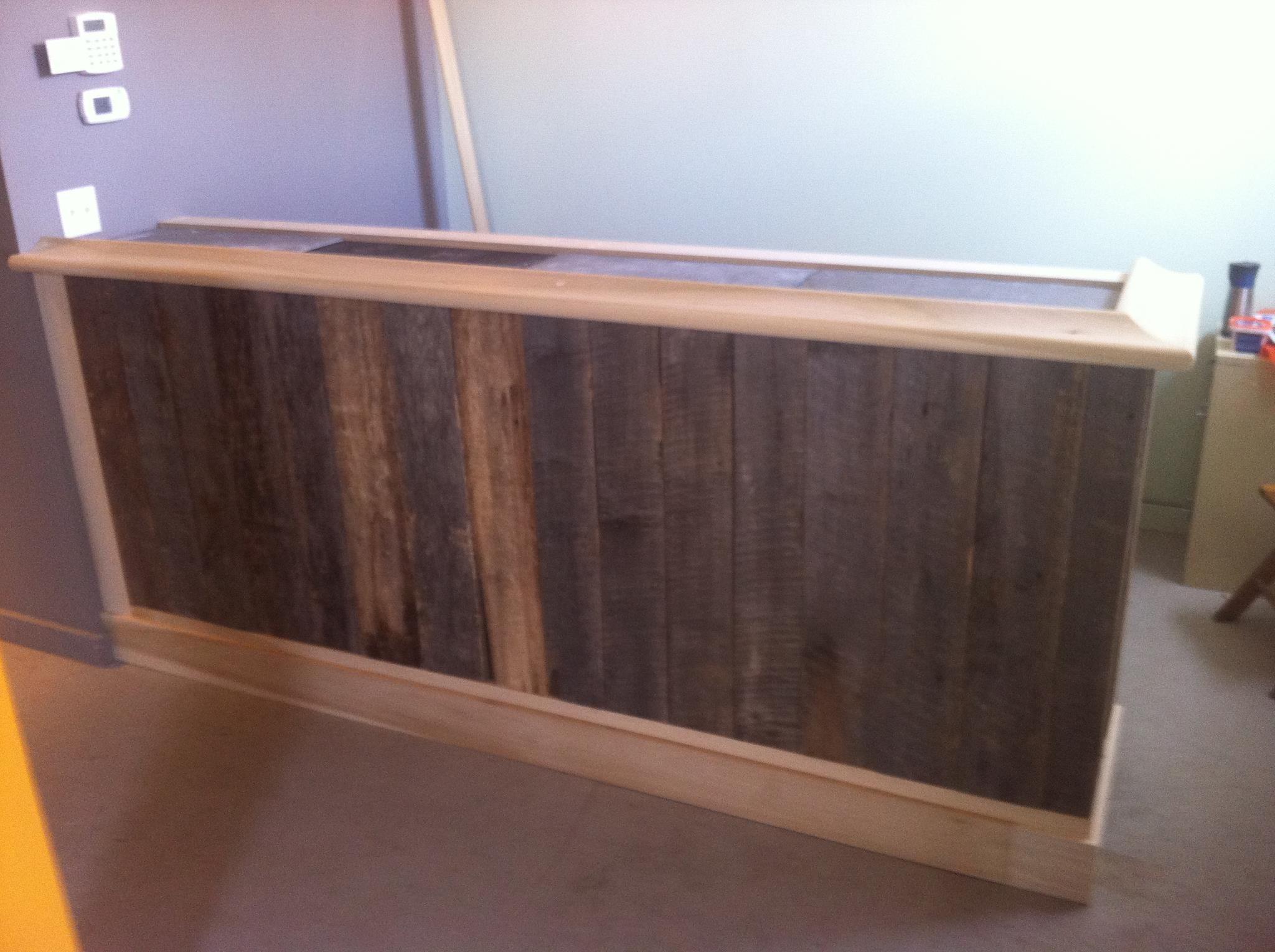 100 year old barn siding + 100 year old reclaimed slate + modern bar ...