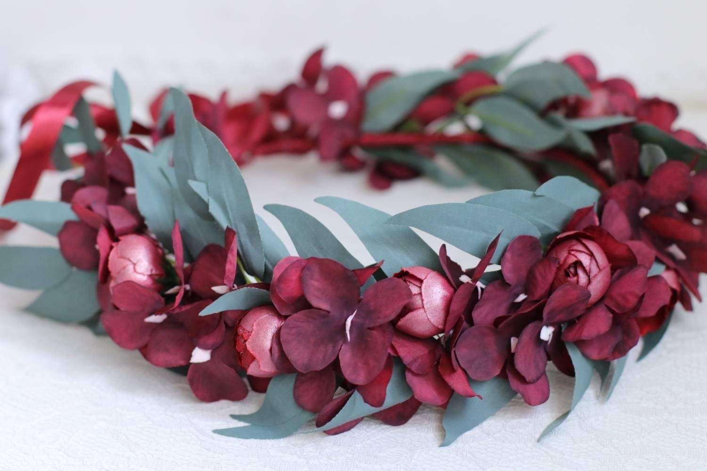 Succulent eucalyptus bridal flower crown burgundy dusty rose peonies hydrangea