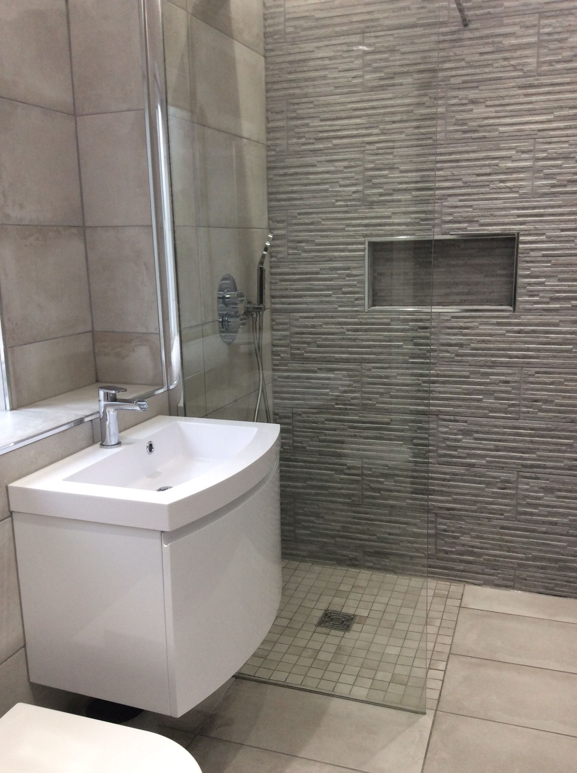 Grey Bathroom Neutral Modern Stone Effect Tiles Recessed Shelf