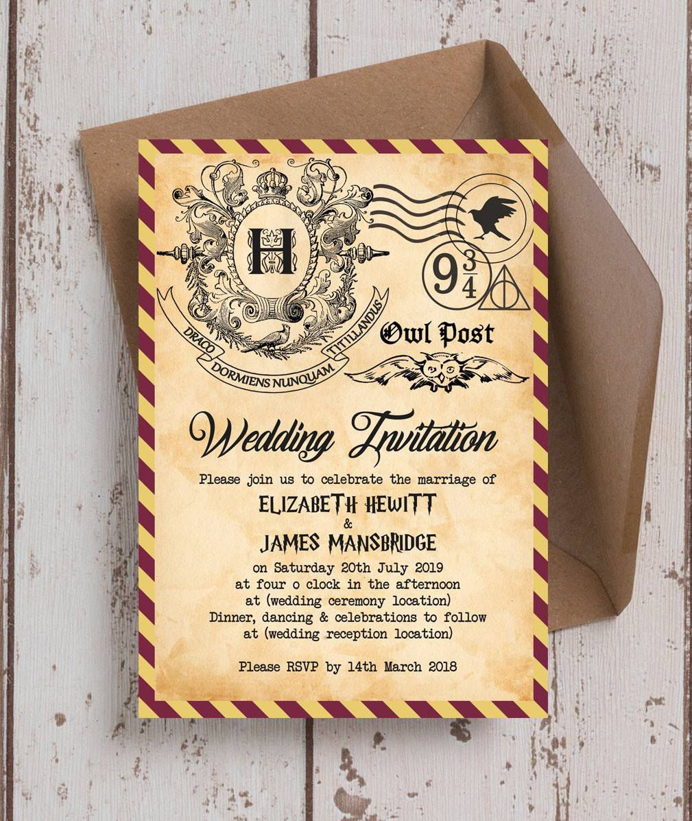 Amazing Harry Potter themed wedding invites. Our invitations are