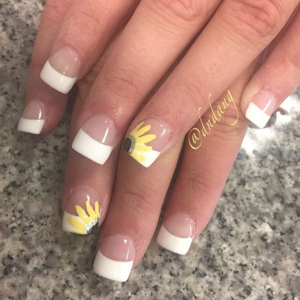 white tip nail designs with glitter  |Painting Tip Nail Ideas