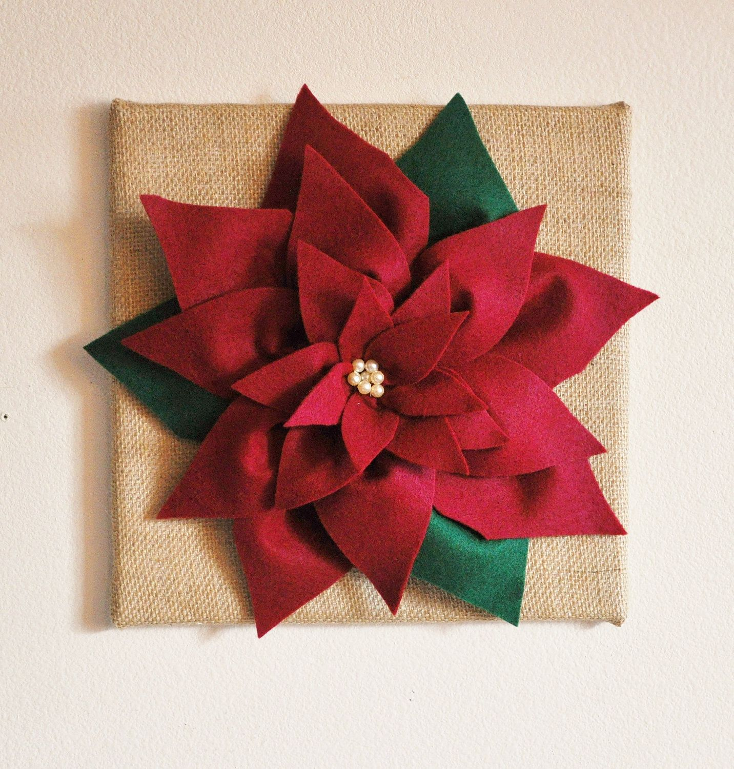 Rustic Christmas Wall Decor - Cranberry Poinsettia on 12 x12 ...