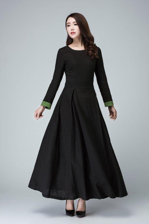 7644b00a81 Black linen dress maxi women dress. Womens Clothing Party Dresses. Black  Linen Blend Party Dress with Fitted Waist   Long Sleeves Detail-Handmade