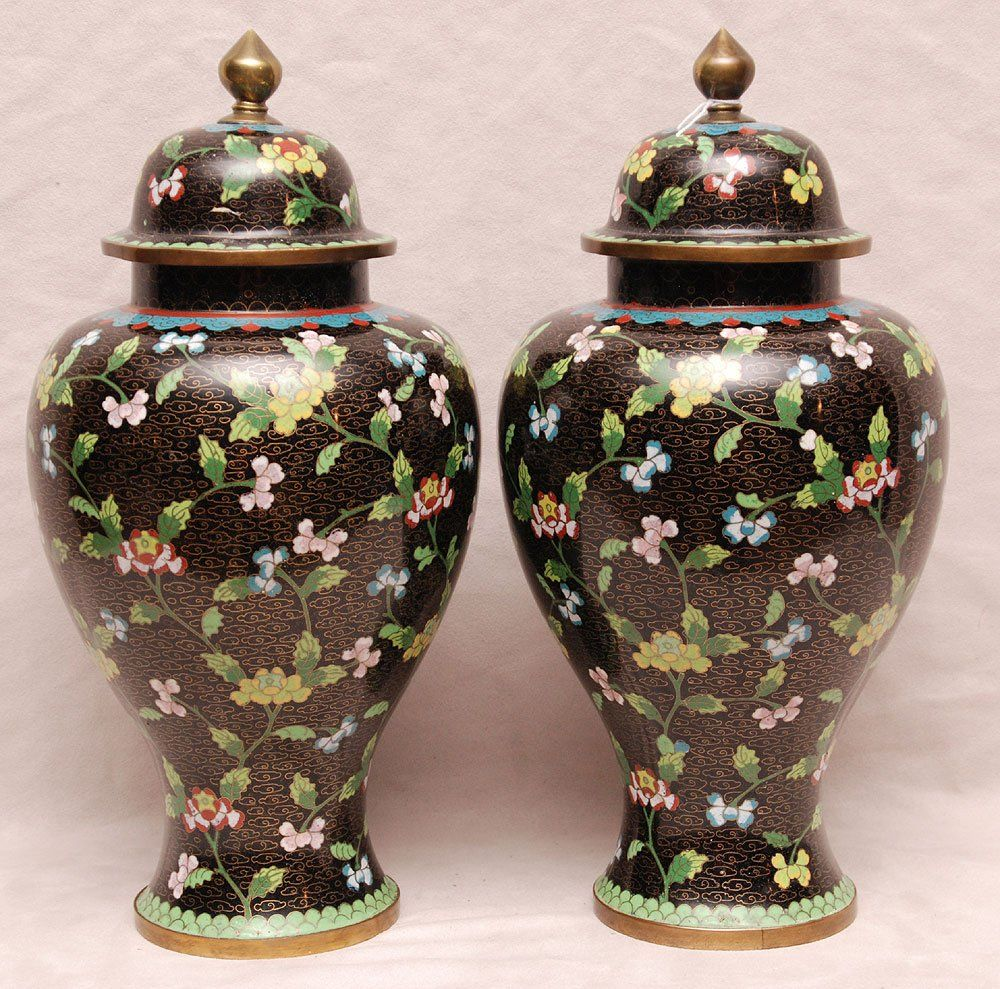 """Pair of cloissone covered urns, stamped """"China"""" floral : Lot 359"""