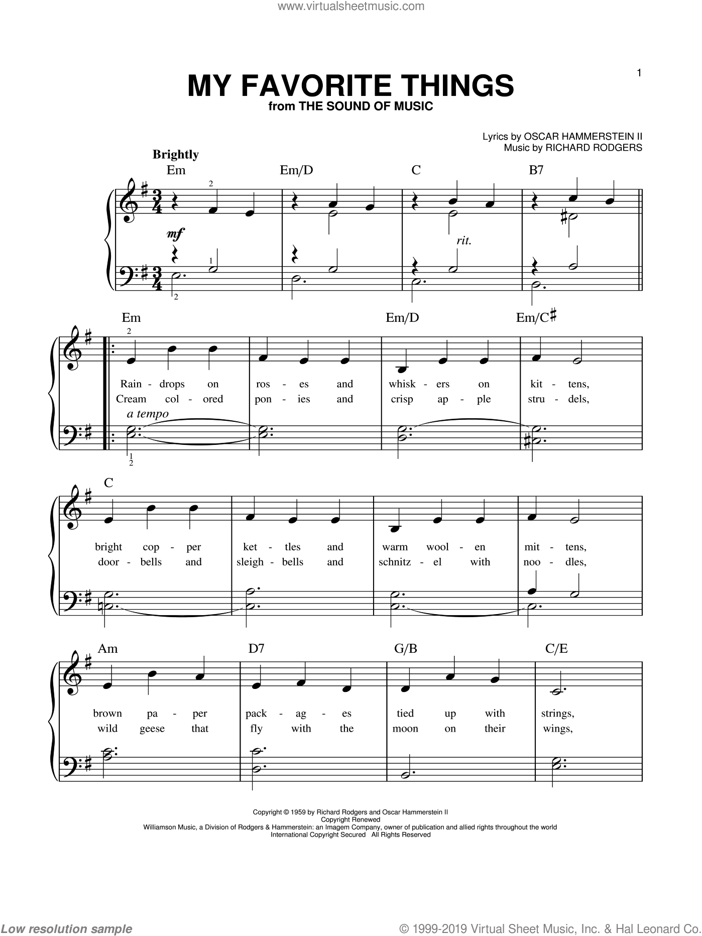 Download And Print My Favorite Things Beginner Sheet Music For Piano Solo By Rodgers Hammerstein High Q In 2020 Sheet Music Digital Sheet Music Piano Sheet Music