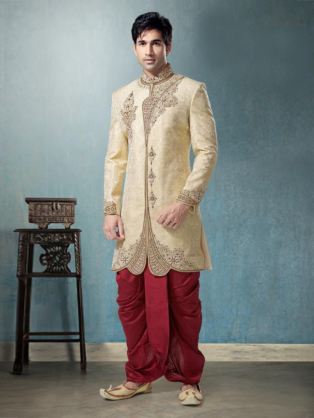 G3 Fashions Beige jamawar wedding mens dhoti suit Products code: G3 ...