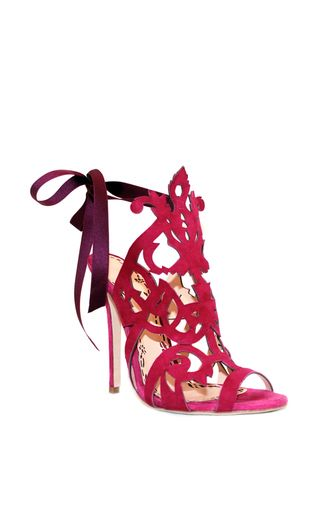Marchesa   2016   is rendered in fuchsia suede and features intricate cut-out detailing and a tie closure.   @ my sexy shoes2