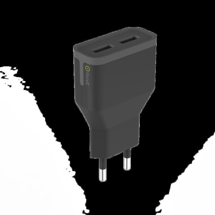 Apercu Image 2 Muvit Chargeur secteur 2 ports USB 2,4A Noir