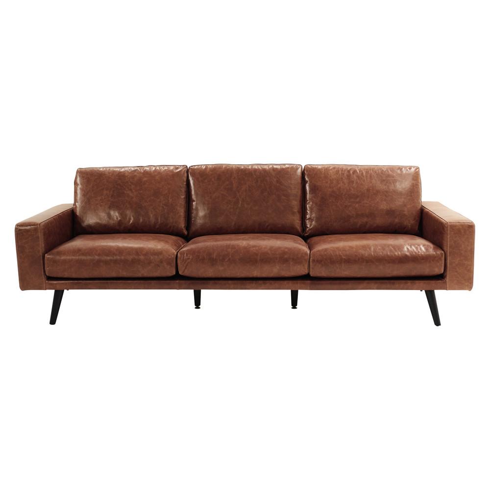 Canapé 4 places en cuir marron cognac Meubles