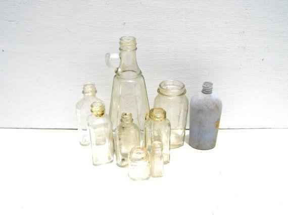 Vintage Clear Glass Bottles Vintage Medicine by PaperWoodVintage, $27.00