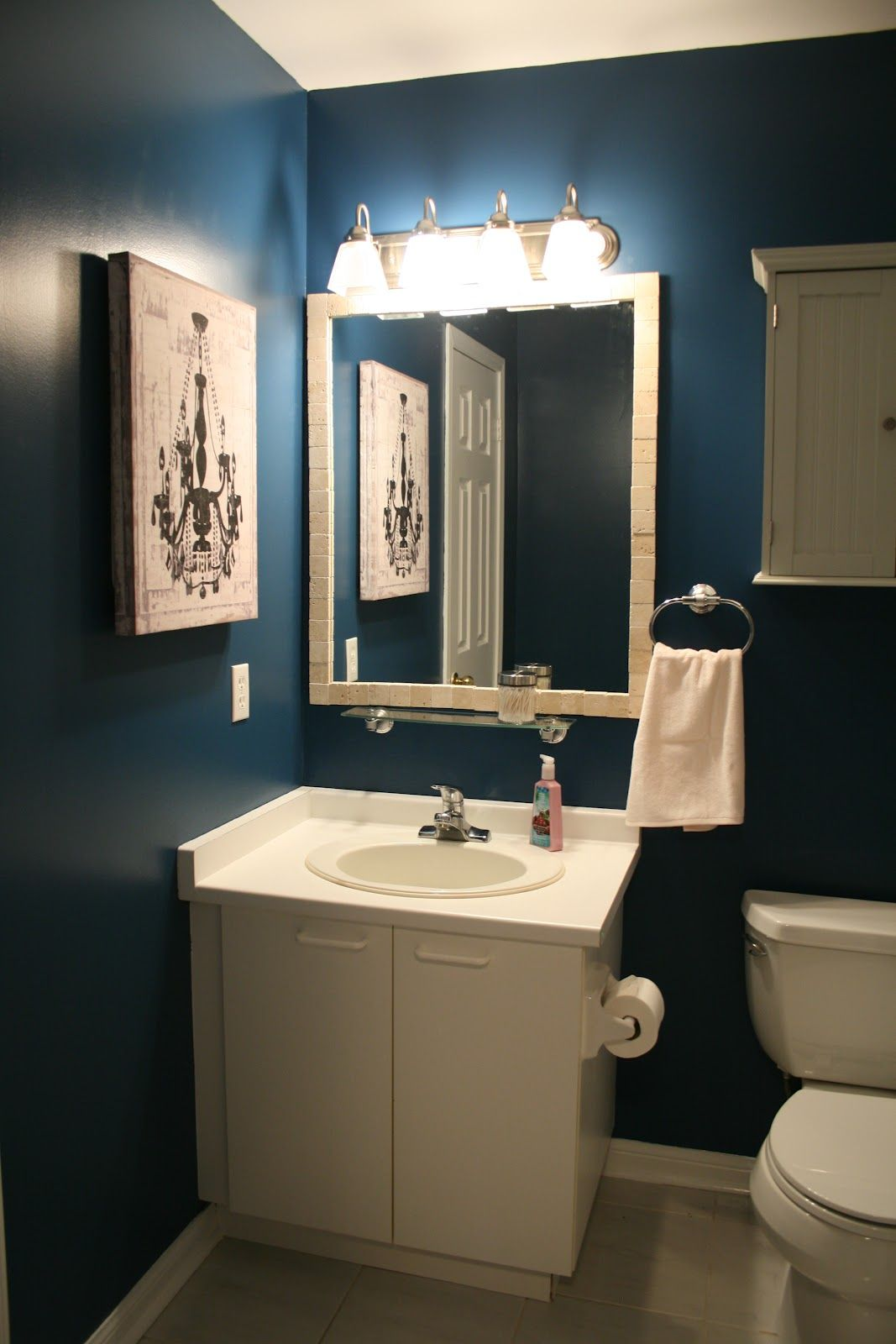 Not A Fan Of The Dark Walls But Love Mirror With Small Shelf Under It Could Be Cute For My Guest Bathroom