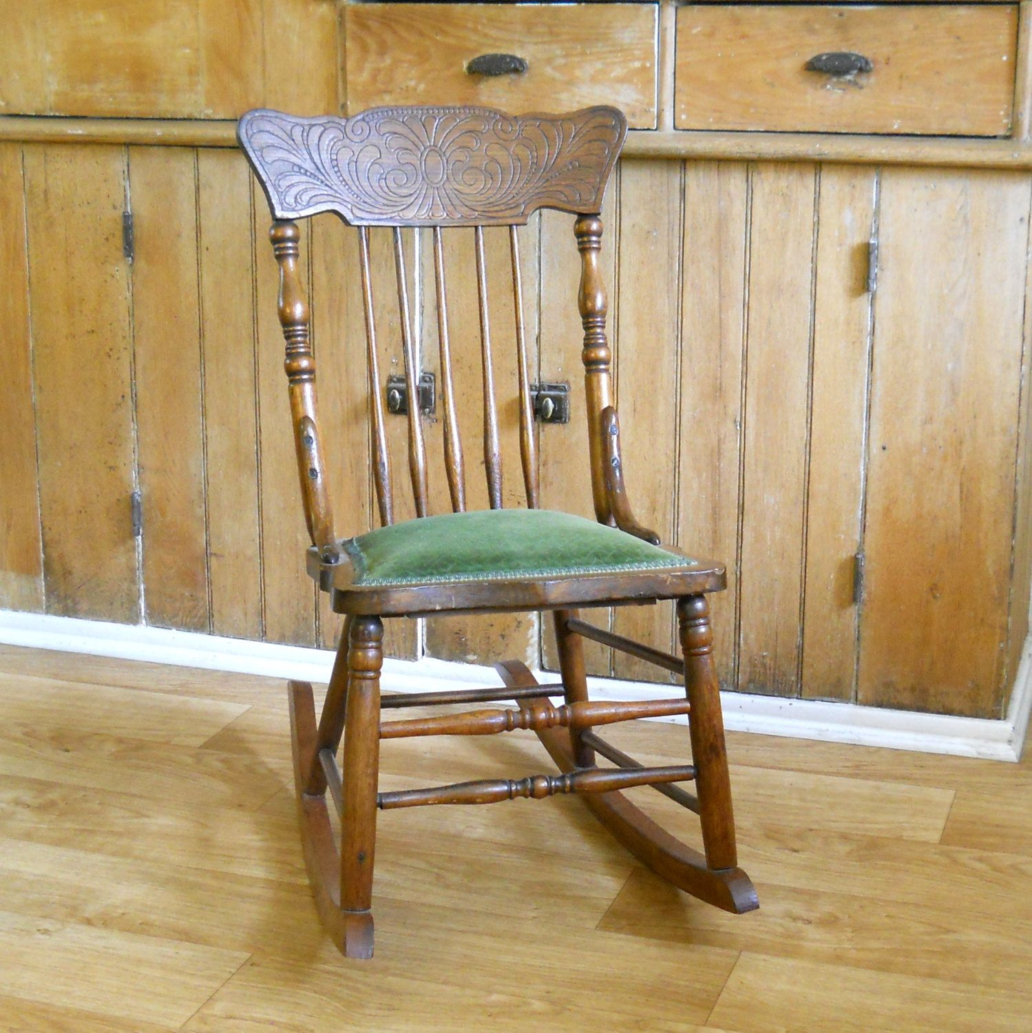 Antique Carved Back Upholstered Seat Rocking Chair • Oak Armless Rocking  Chair with Green Seat by - Antique Carved Back Upholstered Seat Rocking Chair • Oak Armless