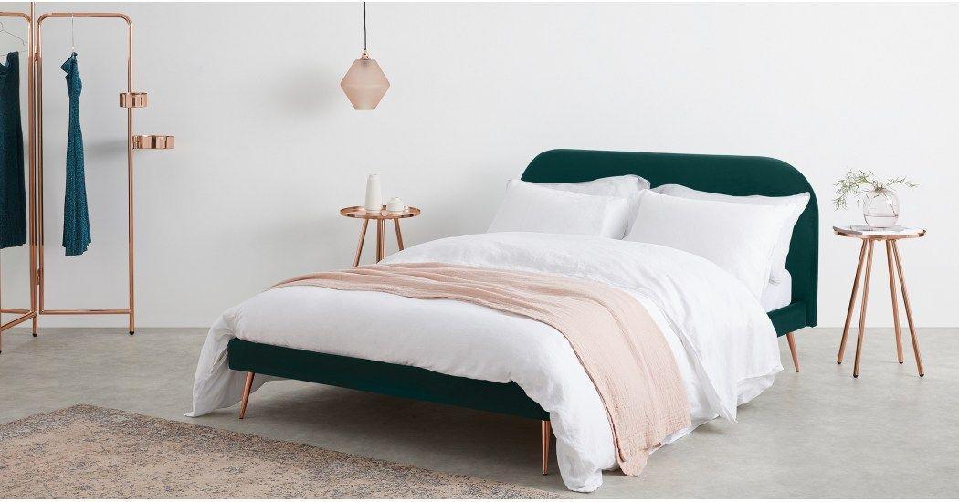 fda4e52cb4b4 Eulia Double Bed, Seafoam Blue Velvet | MADE.com. Eulia Super King ...
