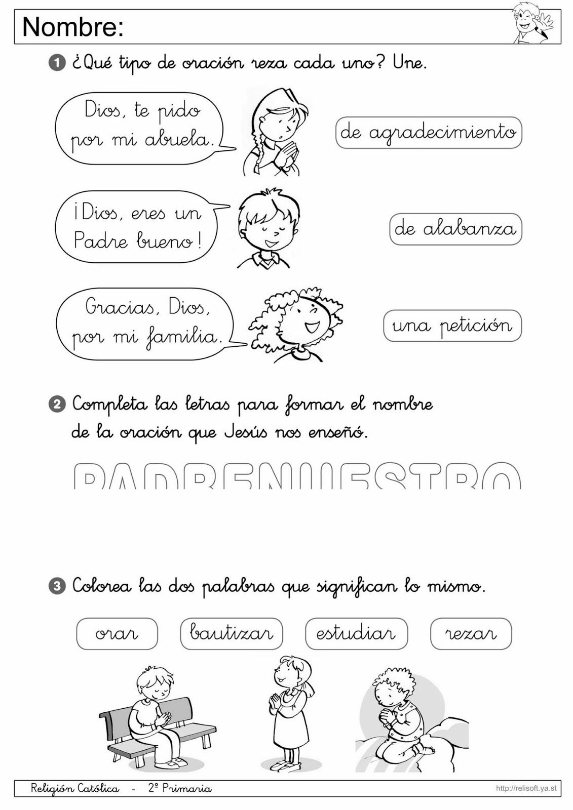 Recursos Religion Católica: Fichas 1º y 2º Primaria | FICHAS DE ...