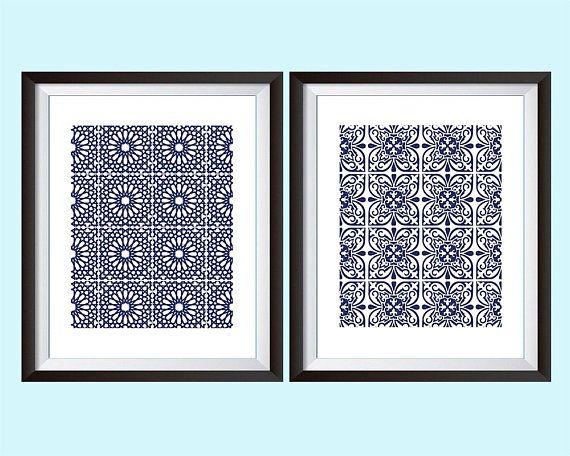 Hamptons Style Art Moroccan Art Print Indigo Blue Boho ...  |Hampton Style Indigo