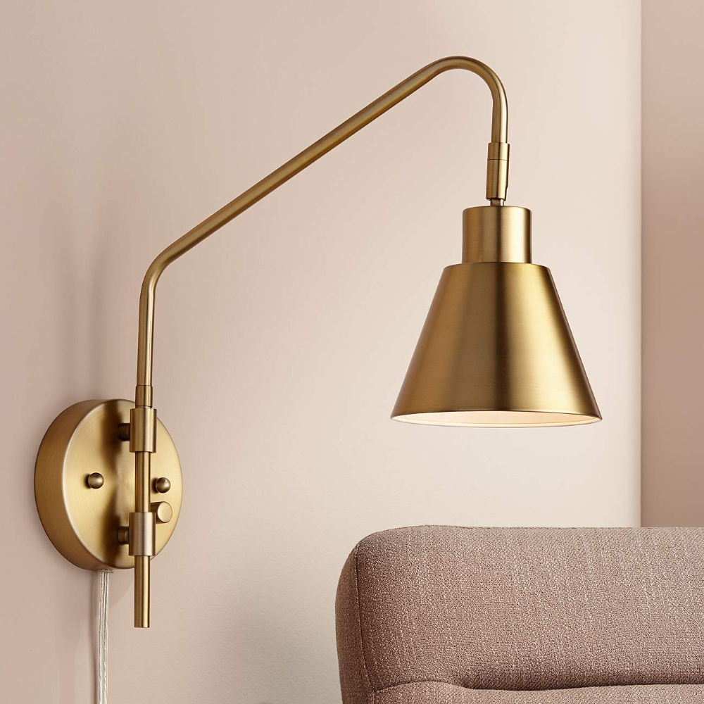 Marybel Antique Brass Downlight Plug In Swing Arm Wall Lamp 76h56 Lamps Plus In 2021 Wall Lamp Swing Arm Wall Lamps Wall Lamps Bedroom Plug in swing arm wall lamp