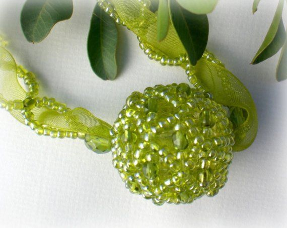 Crystal Beaded Pendant Unique Jewelry Green by SpringColors