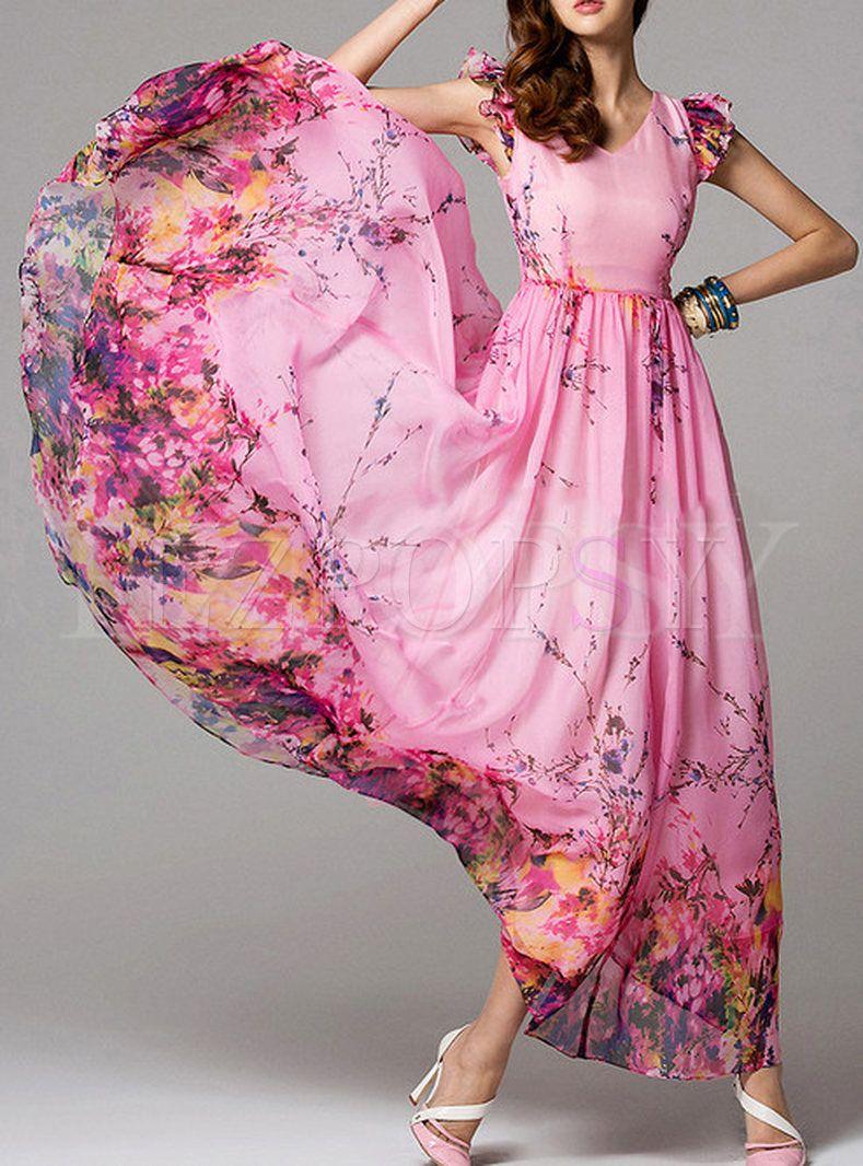 Summer floral print short sleeve maxi dress pretty dresses