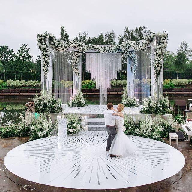 Beautiful, modern outdoor wedding design | Wedding stage ...